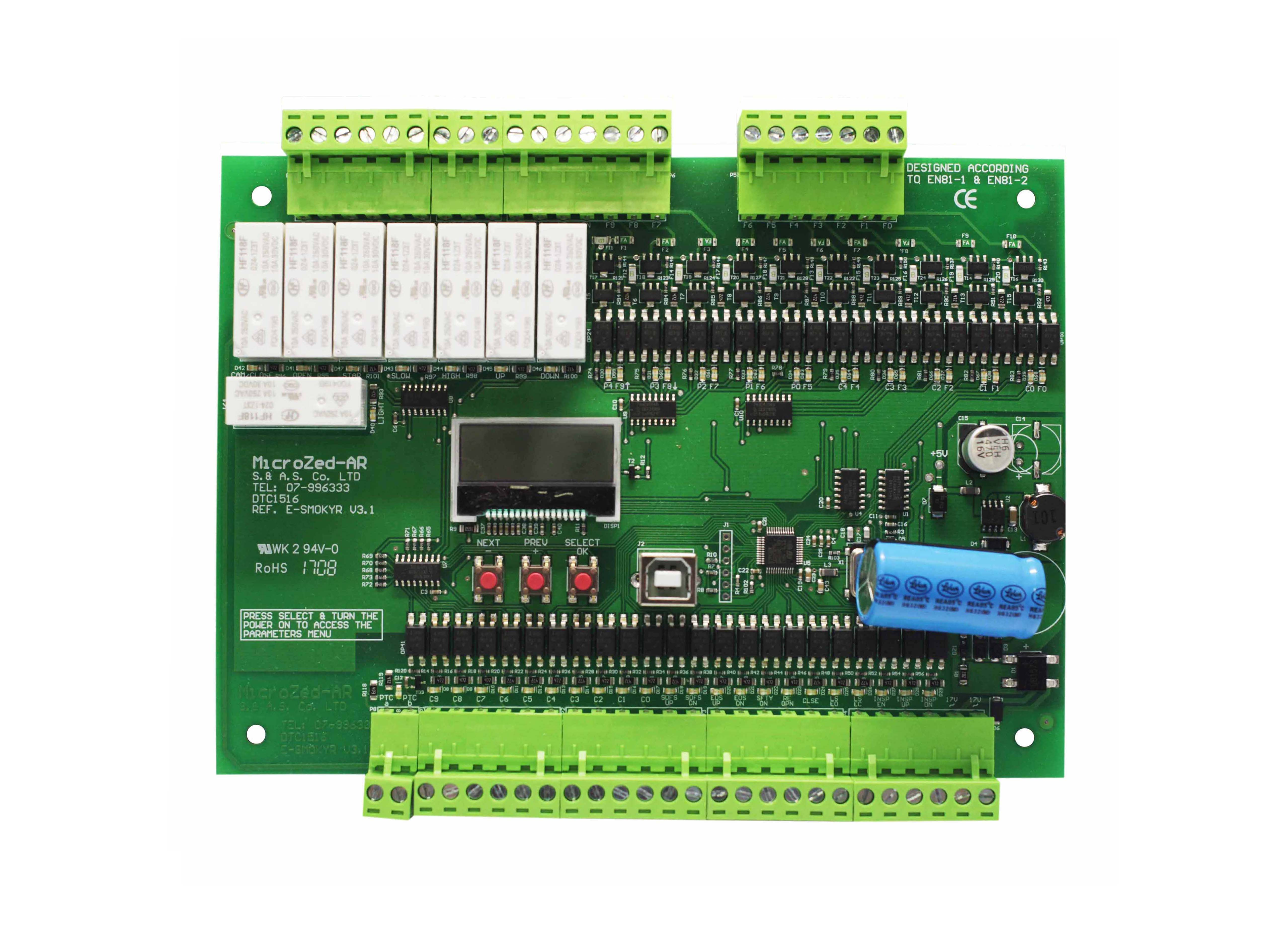 ELEVATOR  CONTROLLER  10  STOPS  AUTOMATIC  PUSH  BUTTON  WITH  RELAYS  −  MICROZED AR  V3.1